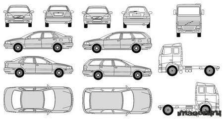 Автомобили Вольво в векторном формате