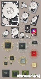 Компьютерный жесткий диск и микросхемы