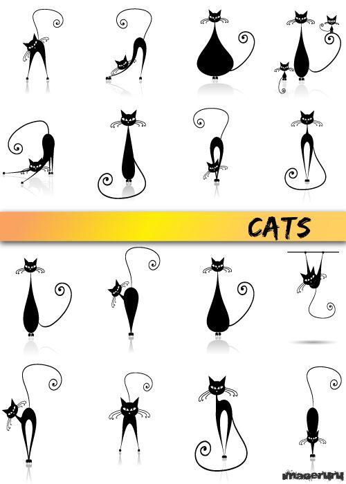 Стильные чёрные кошки: imageru.ru/klipart/vector/225-stilnye-chyornye-koshki.html