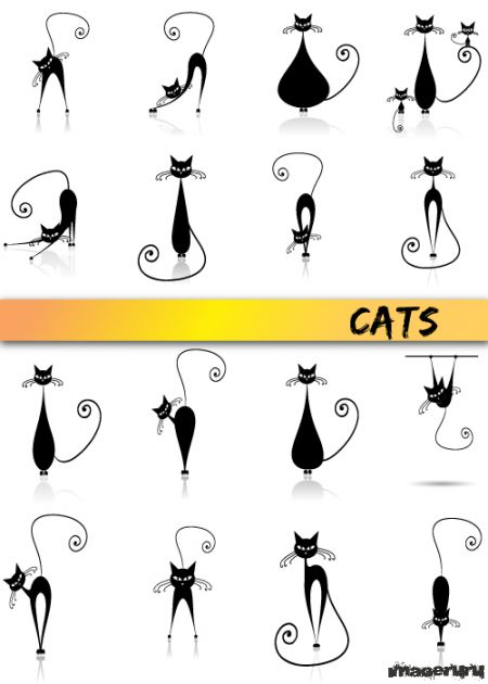 Стильные чёрные кошки