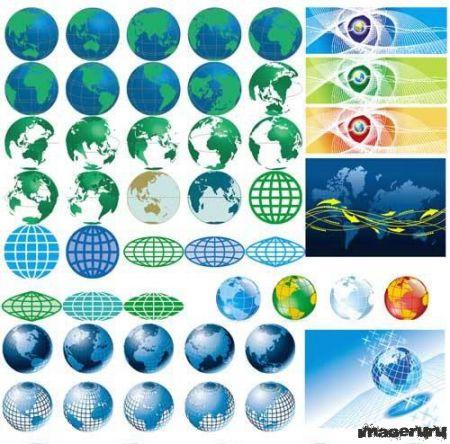 Коллекция глобусов и изображений земли
