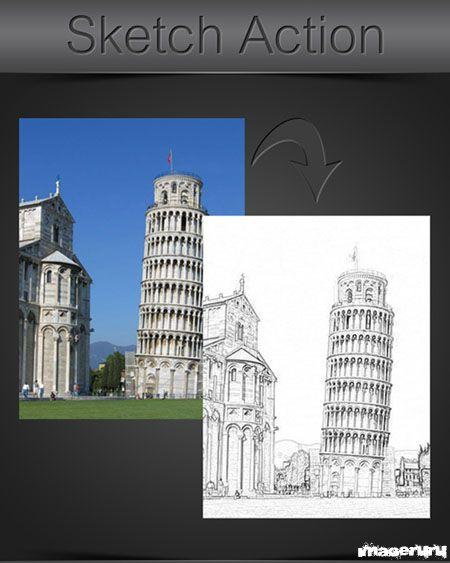 Карандашный рисунок - эффект для фотошопа
