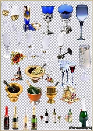 Винные бутылки, бокалы, кубки