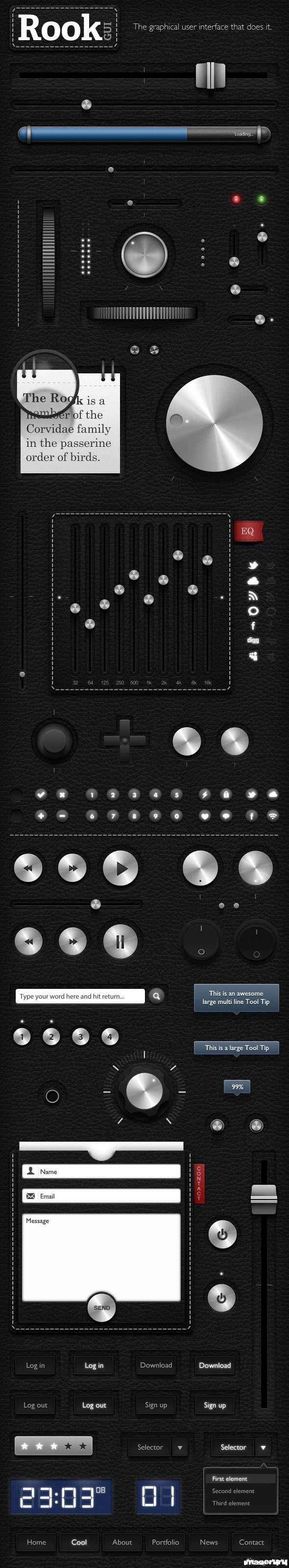 Графический интерфейс пользователя, матовый металл, кожа