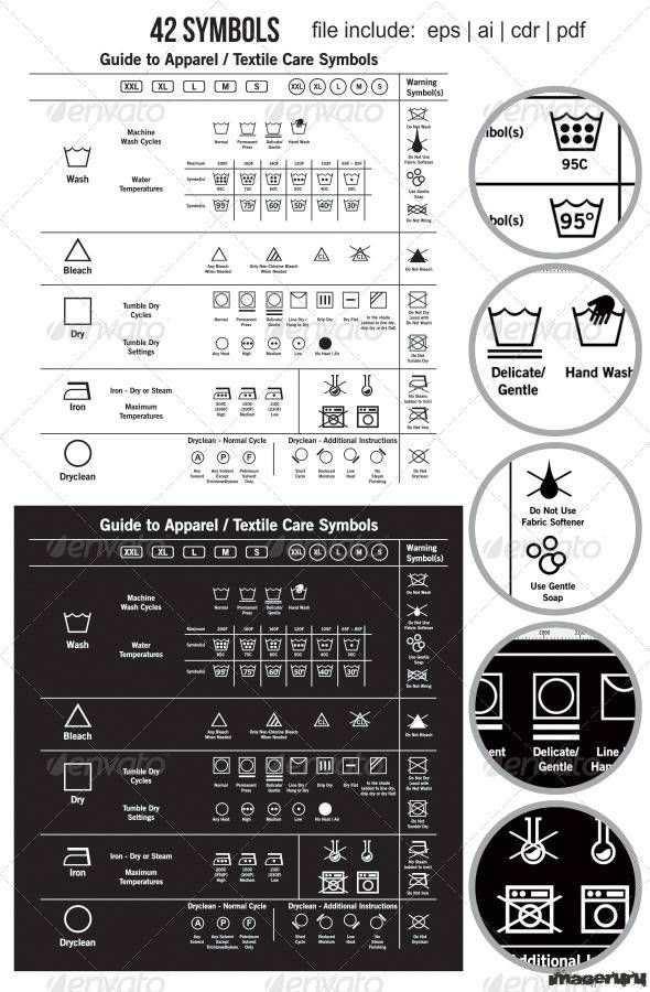 Знаки ухода за одеждой, 42 символа