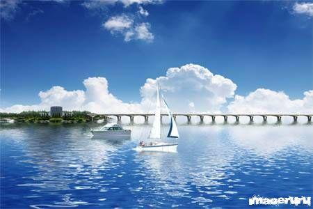 Парусная лодка и катер на воде