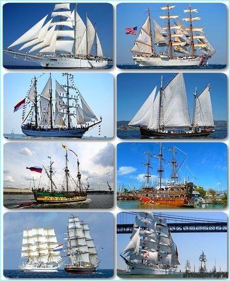 Парусные корабли в большом разрешении