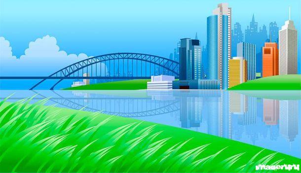 Город на берегу реки и арочный мост