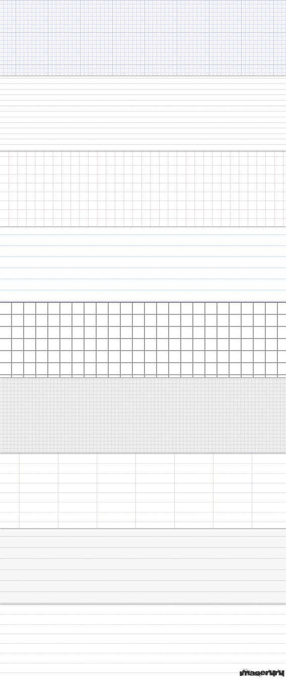 Бесшовный шаблон листа в клеточку и в линейку