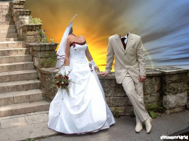 Жених и невеста - шаблон для фотошопа