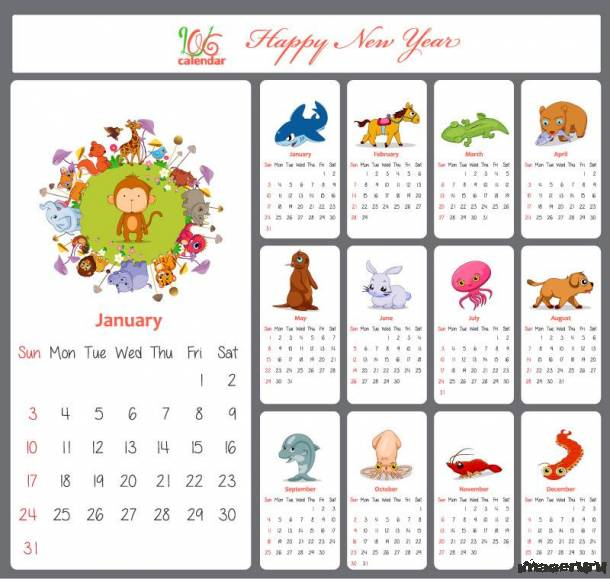 Детский календарь на 2016 год