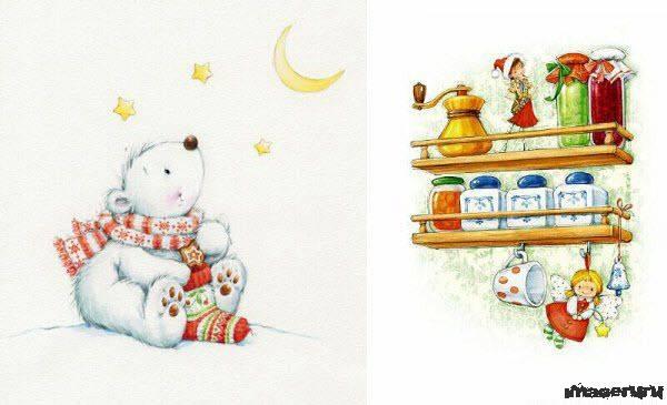 Новогодние открытки Марины Федотовой