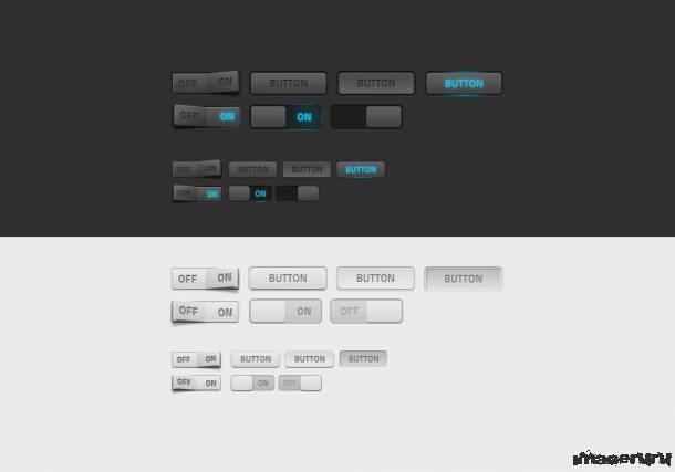 Реалистичные кнопки веб интерфейса