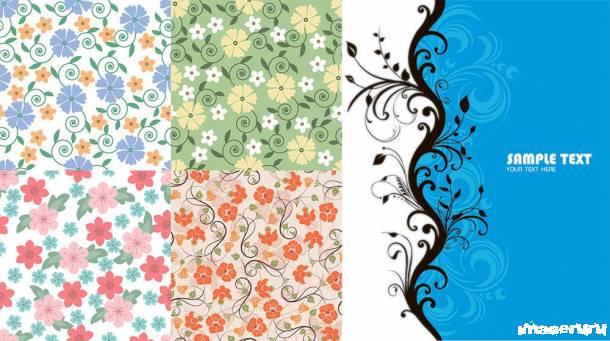 Тканевые цветочные орнаменты
