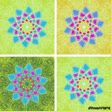 Красочные цветочные узоры в формате PNG