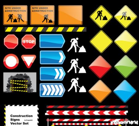 Строительные работы - векторные знаки
