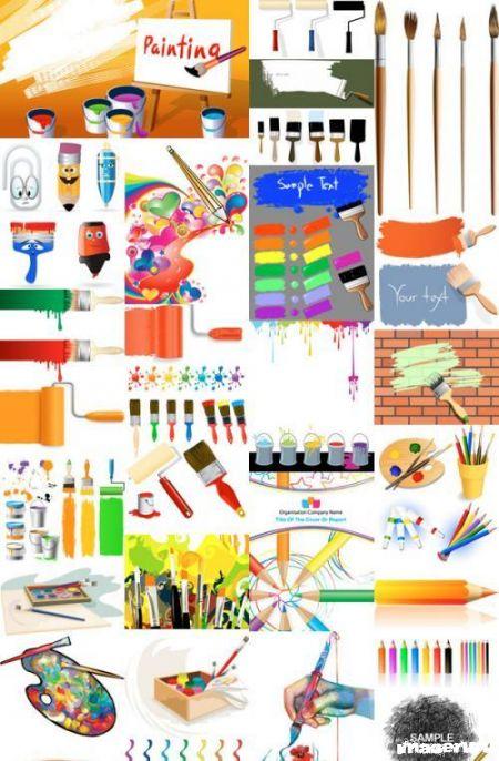 Кисти, краски и всё для живописи