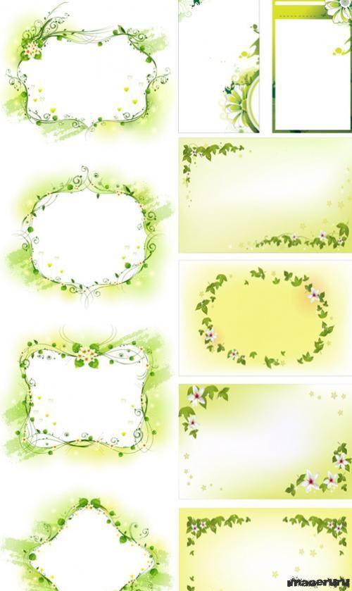 Зелёные цветочные рамки