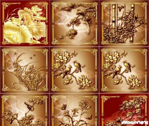 Золотые цветочные фоны