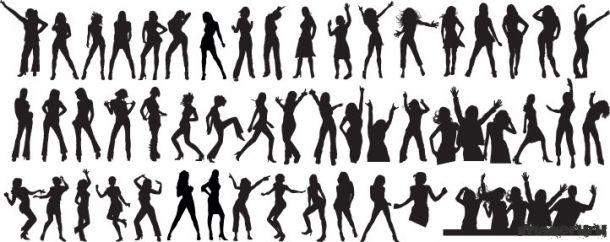 Силуэты, танцующие девушки