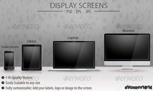 Экраны смартфона, планшетника, ноутбука, телевизора с бликами