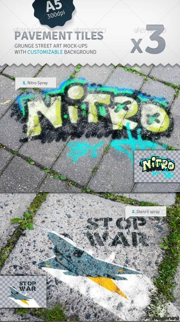 Граффити на тротуарной плитке
