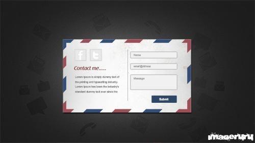 Форма контакта в виде почтовой карточки