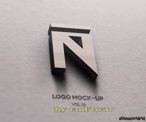 Макет 3D деревянного логотипа