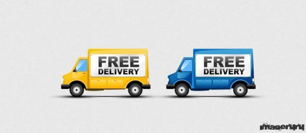 Бесплатная доставка - рекламный шаблон