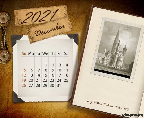 Универсальный календарь в ретро стиле